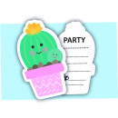 Cactus - 6 invitation cards with envelope