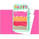 Birthday Cake - 6 invitation cards with envelope