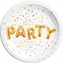 Gold Party - 8 Paper Plates Large 23cm