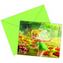 wholesale Greeting cards: Tinkerbell - 6 Die-cut Invitation Cards with Env