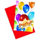 Palloncini Fiesta - 6 inviti con busta