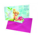 wholesale Greeting cards: Tinkerbell Flowers Prismatic - 6 Die-cut Invitatio