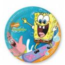 grossiste Cadeaux et papeterie: Spongebob Surfing  - assiettes en papier 20cm