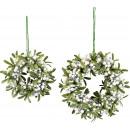 wholesale Artificial Flowers: CROCHET WHITE BERRIES Set: 2 (price per set)