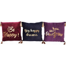 wholesale Cushions & Blankets: CUSHION COVERS HAPPY 45X45 3 assorted (price per