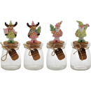 GLASS POT Candy CHRISTMAS 4 assorted (price per