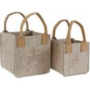 wholesale Handbags: FELT BAGS STAR Set: 2 (price per set)