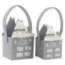 wholesale Handbags: FELT BAGS WINTER HOUSE Set: 2 (price per set)