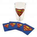 wholesale Drinking Glasses: Maxi Glass Superman and Four Coasters