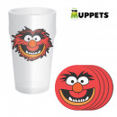 wholesale Drinking Glasses: Maxi Glass Muppets and Four Coasters