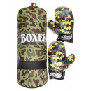 Großhandel Sport- und Fitnessgeräte: Militärmuster Boxsack mit Handschuhen
