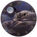 Wolf clock on the background of the moon