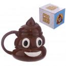 Großhandel Haushaltswaren: Keramiktasse Emoticon Poop mit Deckel