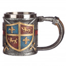 Beer mug knight with heraldic shield and swords