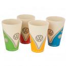Lot de 4 tasses VW T1 Camper Bus, coloris bambou