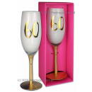 wholesale Drinking Glasses: Birthday champagne glass in a box - 60