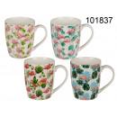A mug of ceramic flamingos