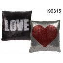 nagyker Otthon és dekoráció: Dekoratív Párná fekete-ezüst LOVE szívvel