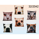 Decorative pillow with a picture of a cat / dog