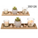 wholesale Wind Lights & Lanterns: Wooden stand with candlesticks