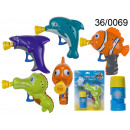 wholesale Garden playground equipment: Gun for bubbles - water pet + liquid