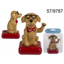 Solar figurine dancing dog with glasses
