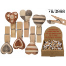 Wooden paper clip with hearts