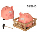 Sparschwein mit einem Hammer