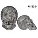 Großhandel Scherzartikel: XXL Silber Schädel Dekoration - Glasperlen