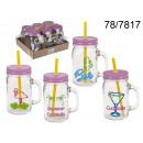 wholesale Houshold & Kitchen: Mug jar with straw - 450 ml