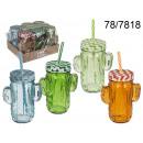 wholesale Houshold & Kitchen: Mug jar with a  cactus straw - 500 ml