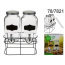 wholesale Drinking Glasses: Double drink dispenser - 2 Vintage jars