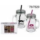 Cup jar with a  straw His & Hers (2 pieces)
