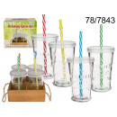 wholesale Drinking Glasses: A glass with a straw (4 pieces)