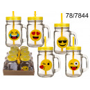Cup jar with a  straw Emoticons - 450 ml