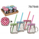 wholesale Crockery: Cup jar with a straw - 200 ml