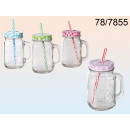 wholesale Houshold & Kitchen: Cup jar with a straw - 450 ml