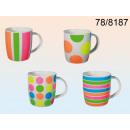 wholesale Houshold & Kitchen: Porcelain cup neon - 12 pieces
