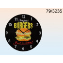 wholesale Clocks & Alarm Clocks: Glass clock retro - Burgers