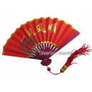 wholesale Costume Fashion: Chinese red wooden fan with Bobble