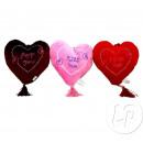 coeur en peluche saint valentin avec pompons 15cm