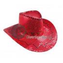 grossiste Vetement et accessoires: chapeau cowboy à sequins rouge
