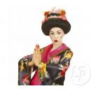 peluca de geisha con flores de lujo
