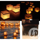 Asian lantern floating white cube 15cm
