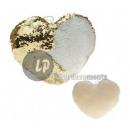 groothandel Kussens & Dekens: Kussen hartsirene met pailletten goud / witte rugc