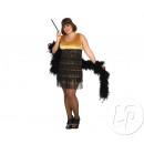 Großhandel Kleider: Hi-Hat-Kleid mit Fransen Gold & Schwarz Größe
