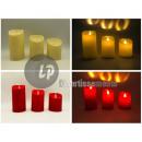 Set von 3 Kerzen führte roten Durchmesser 7cm