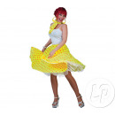 wholesale Skirts: neon yellow skirt and scarf and orange dots