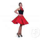 wholesale Skirts: red skirt and scarf and black polka dots