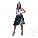 wholesale Skirts: black skirt and scarf and white polka dots